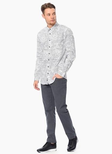 Que Desenli Slim Fit Uzun Kollu Gömlek Siyah